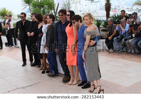 Sophie Marceau, Rossy de Palma, Ethan Coen, Joel Coen attend the Jury photocall during the 68th annual Cannes Film Festival on May 13, 2015 in Cannes, France. - stock photo