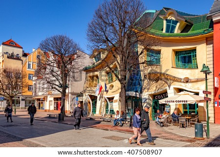 SOPOT, POLAND - APRIL 15, 2016: People on Monte Cassino street, Sopot most famous street with many shops, clubs, galleries. Sopot is a very popular tourist resort in the country. - stock photo