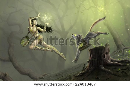 sorceress and pet in forest - stock photo