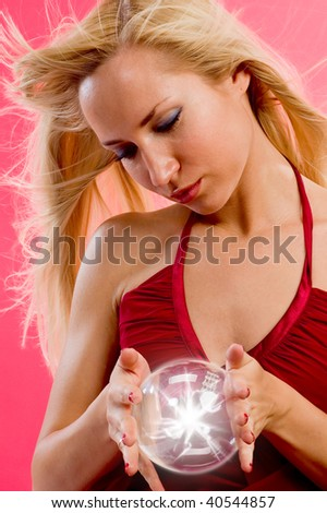 sorceress with magic ball - stock photo