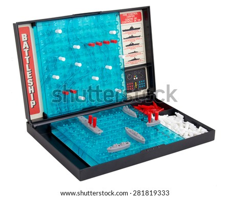 "Sorel-Tracy, Canada- May 25, 2015: A studio shot of the classic 1967 Milton Bradley game ""Battleship"" also called sea battle board game, isolated on a white background - stock photo"