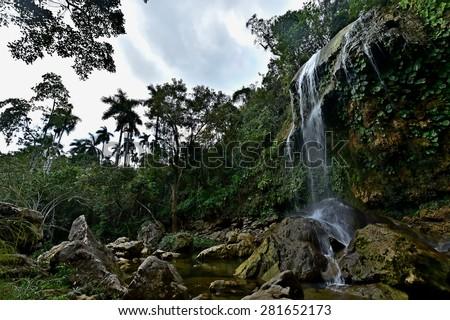 SOROA WATERFALL, Sierra Rosario Biosphere Reserve, Pinar del Rio, Cuba  - stock photo