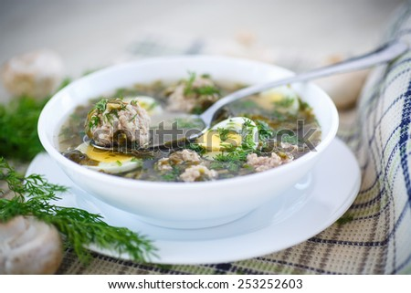 sorrel soup with meatballs and eggs in a bowl - stock photo