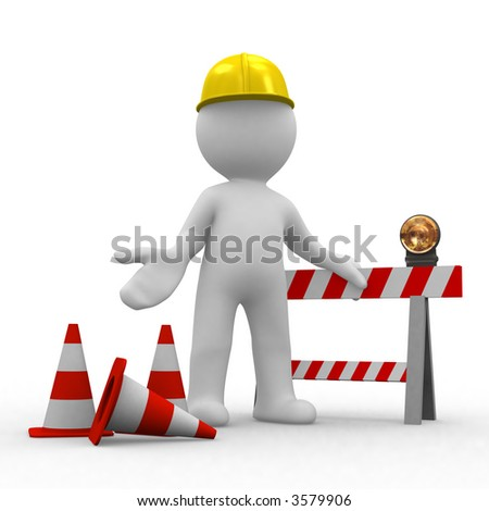 sorry, under construction - stock photo