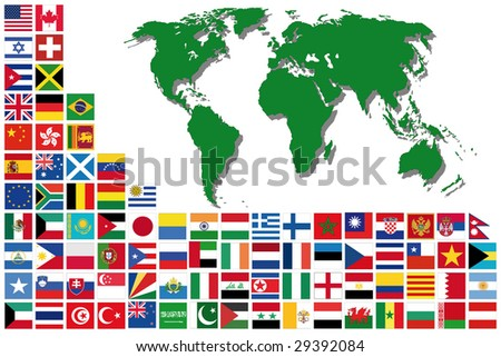 Sorted flags of the world with detailed emblems - stock photo