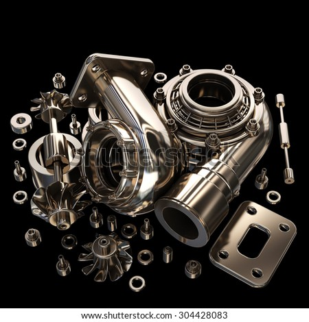 sorted turbocharger of car isolated on black background. High resolution 3d - stock photo