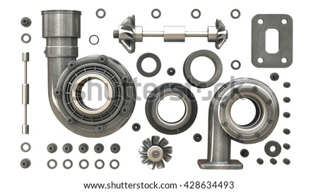 sorted turbocharger of car isolated on white background. High resolution 3d render - stock photo