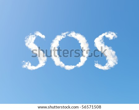 SOS formed from Clouds - stock photo
