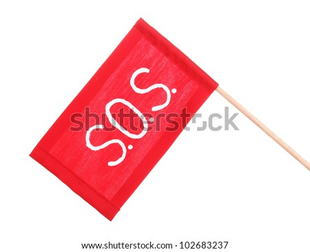 SOS signal written on red cloth isolated on white - stock photo