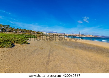 Sotavento Beach During Clear Summer Day - Fuerteventura, Canary Islands, Spain - stock photo