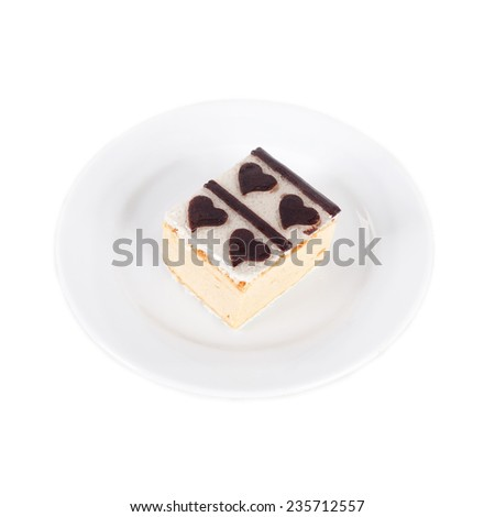 souffle cake with the chocolate cream hearts - stock photo
