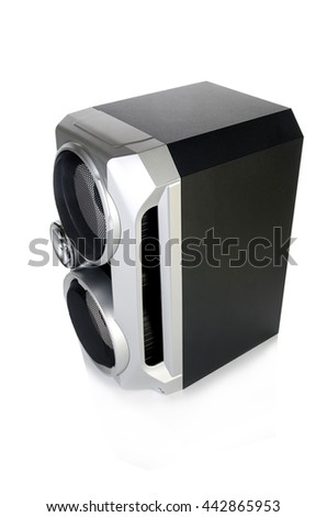 Sound audio speaker isolated on white background - stock photo
