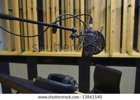sound control room in a production company - stock photo