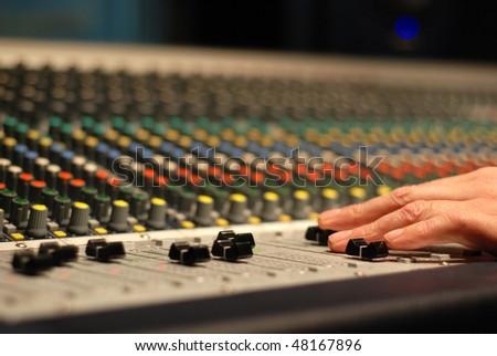 sound engineering in studio - stock photo
