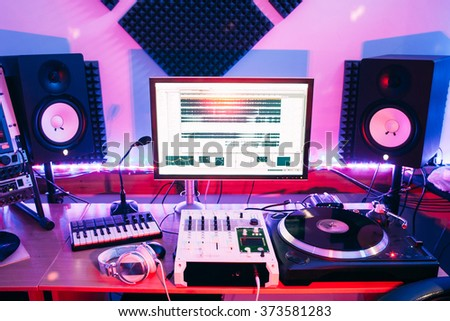 Sound equipment in professional audio recording studio - stock photo