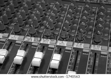 sound mixer black and white - stock photo