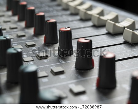 Sound mixer closeup, for music and sound , entertainment themes - stock photo