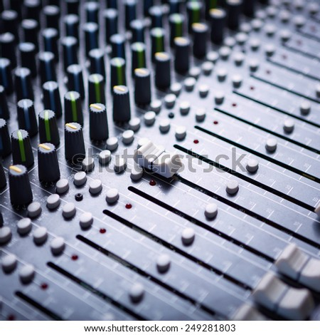 Sound mixer control panel - stock photo