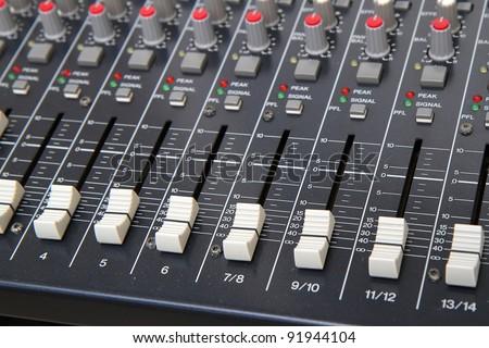 Sound mixer faders - stock photo