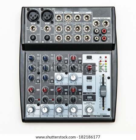 Sound mixer for home use isolated on white background - stock photo