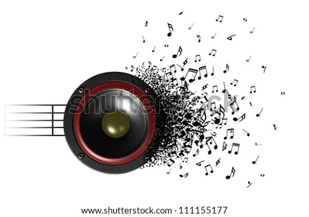sound of music from speaker - stock photo