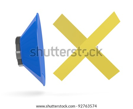 Sound off. 3D icon isolated on white - stock photo
