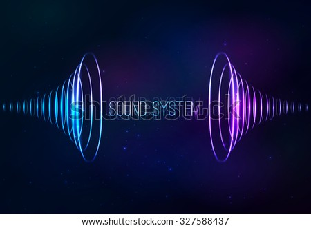 Sound shining cones at cosmic background - stock photo