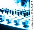 sound studio adjusting record equipment - stock photo