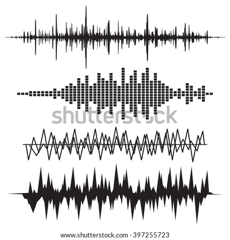 Sound Wave Icon Set. Music soundwave icons set. Equalize audio and stereo sound, wave, melody. - stock photo