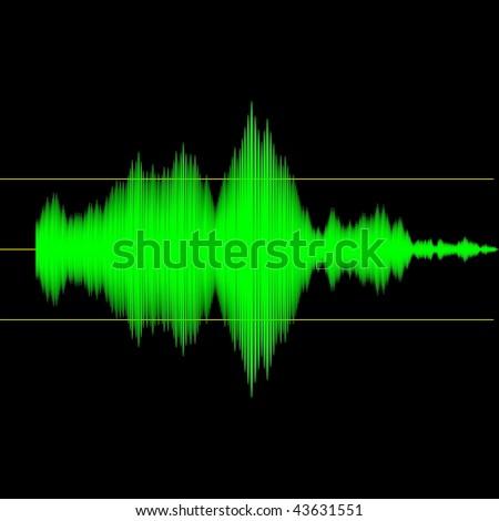 Sound wave measurement audio device output interface screen illustration - stock photo