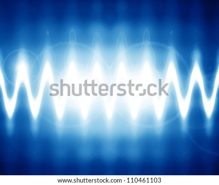 sound wave on a bright blue background - stock photo