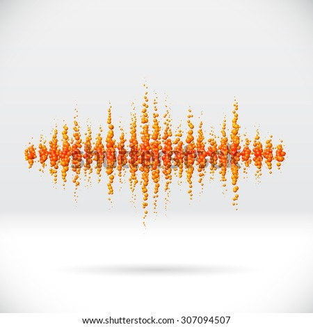 Sound waveform made of scattered orange soda bubbles - stock photo