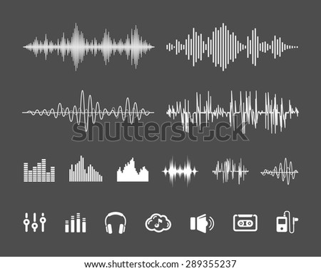 Sound Waveforms. Sound waves and musical pulse icons - stock photo