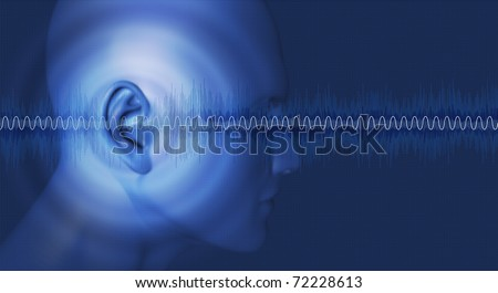Sounds good, hearing noises and vibrations - stock photo