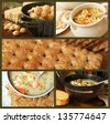Soup and cracker collage includes freshly baked garlic cheese crackers, chicken noodle soup, whole grain crackers,  potato soup, and Italian wedding soup with garlic bread. - stock photo