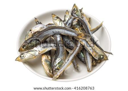 Soup stock of dried small sardines Japan - stock photo