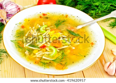 Soup with Chicken Broth with Noodles and Vegetables Studio Photo - stock photo