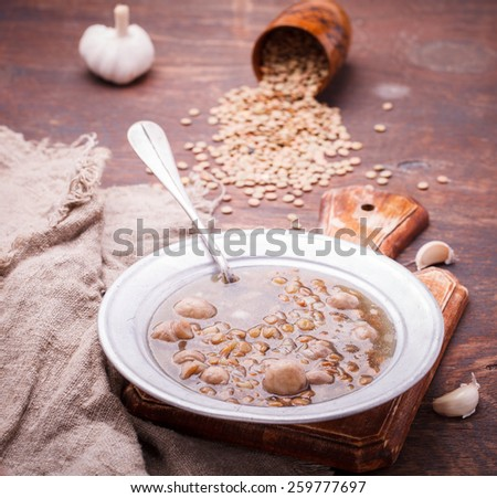 Soup with lentils and mushrooms.selective focus - stock photo