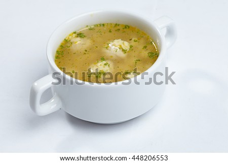soup with meatballs - stock photo