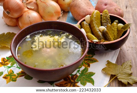 Soup with pickles - stock photo