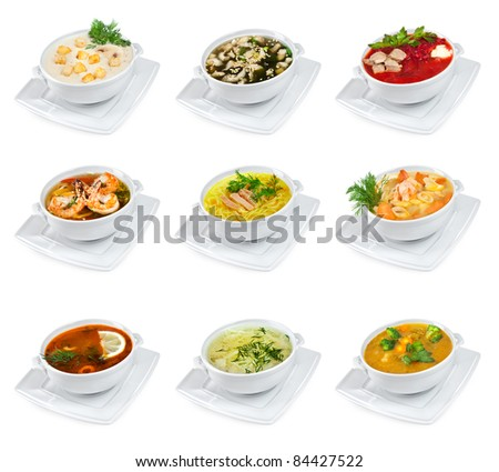 soups on a white background isolated - stock photo
