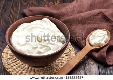 Sour cream - stock photo