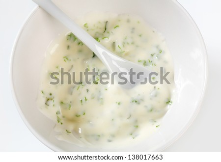 sour cream dip with herbs - stock photo