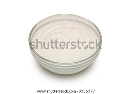 Sour cream in a glass bowl (2) - stock photo
