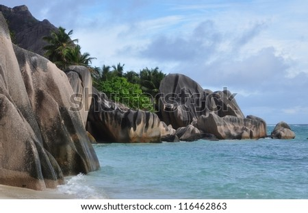 Source d'Argent, a tropical beach at Seychelles 3 - stock photo