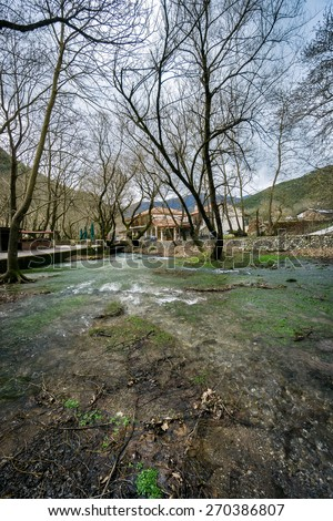 Source of Aroanios small river, in Planitero village, North Peloponnese, Greece