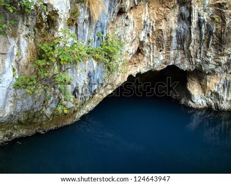 Source of the Buna river in Blagaj near Mostar where water coming out of a cave. Bosnia and Herzegovina - stock photo