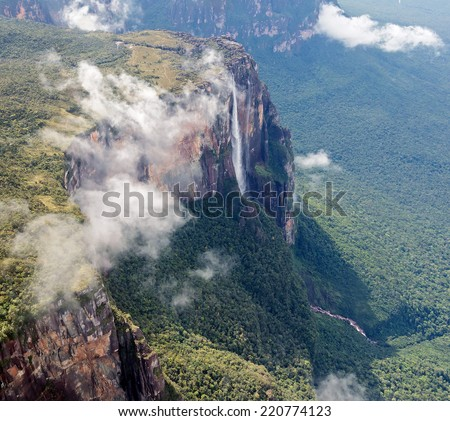 Source of the river supply Angel Falls is worlds highest waterfalls (978 m). View from an airplane - Venezuela, Latin America - stock photo