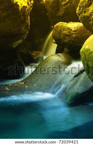 source water inside the cave - stock photo