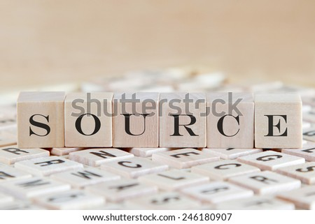 source word on wood blocks - stock photo